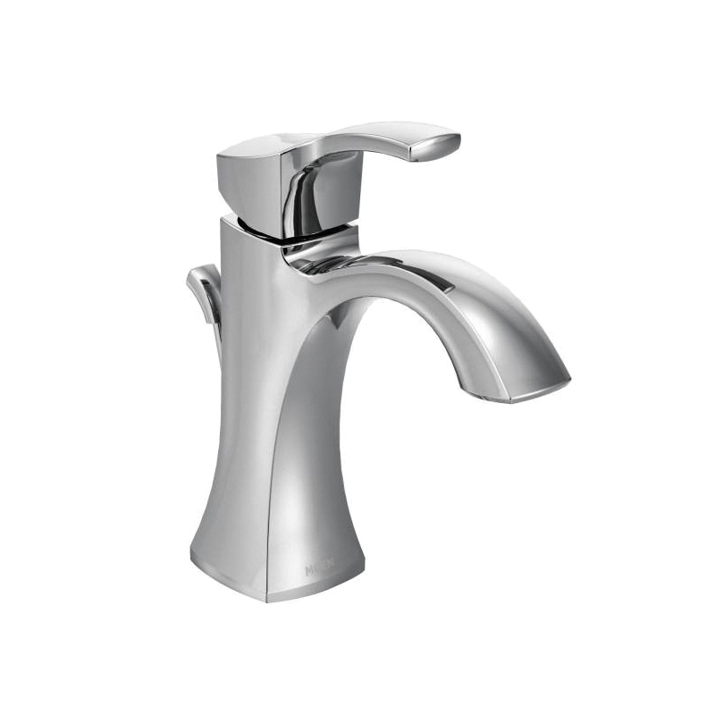 Moen® 6903 Centerset Bathroom Faucet, Voss™, Chrome Plated, 1 Handles, Metal Pop-Up Drain, 1.5 gpm