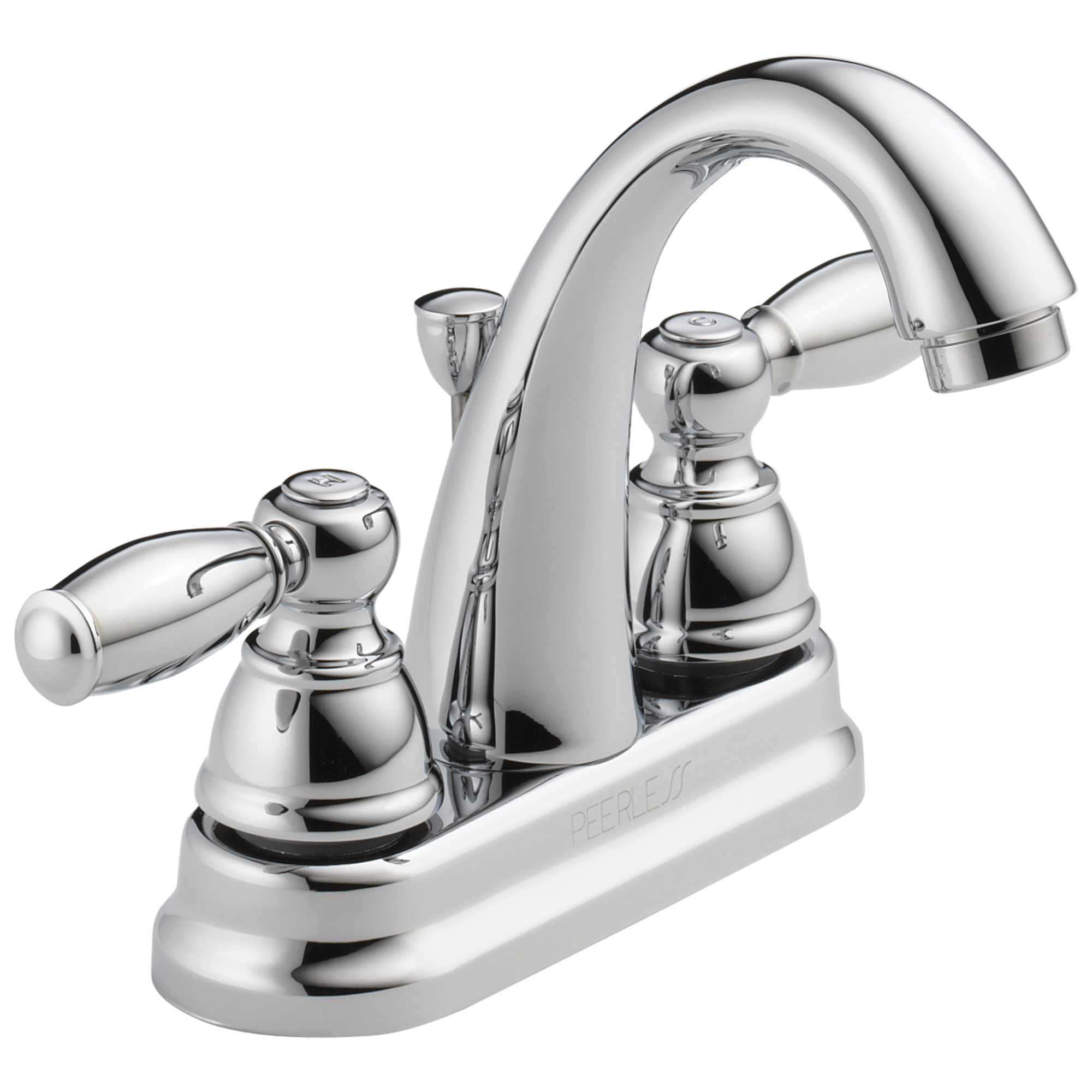 Peerless® P299696LF Centerset Lavatory Faucet, Chrome Plated, 2 Handles, Pop-Up Drain, 1.2 gpm