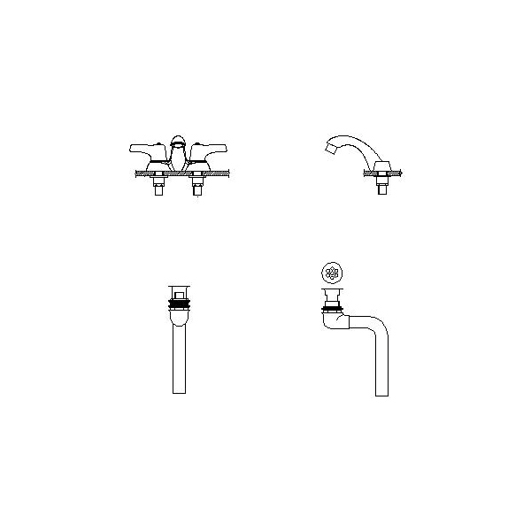 DELTA® 21C453 Heavy Duty Centerset Sink Faucet With Open Grid Strainer, TECK®, Polished Chrome, 2 Handles, 0.5 gpm