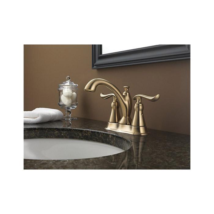 DELTA® 2594-CZMPU-DST Centerset Lavatory Faucet, Linden™, Champagne Bronze, 2 Handles, Metal Pop-Up Drain, 1.2 gpm