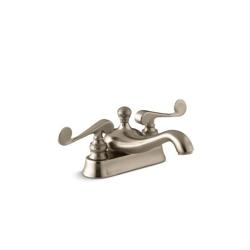 Kohler® 16100-4-BV Centerset Bathroom Sink Faucet, Revival®, Vibrant® Brushed Bronze, 2 Handles, Metal Pop-Up Drain, 1.2 gpm