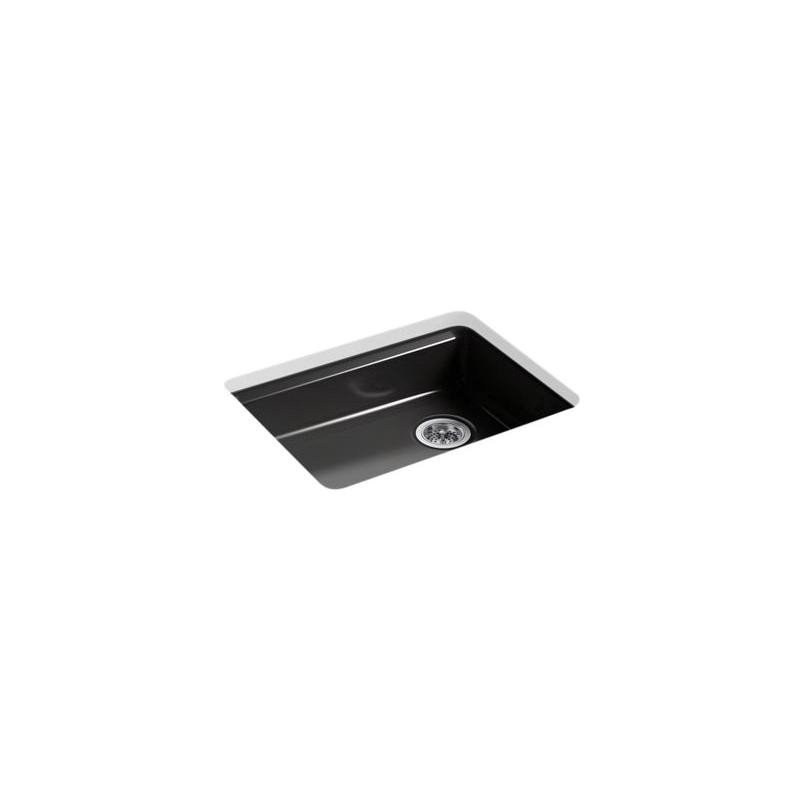 Kohler® 5479-5U-7 Kitchen Sink, Riverby®, Rectangular, 22-1/4 in Lx17-1/4 in Wx5-1/4 in D Bowl, 5 Faucet Holes, 25 in Lx22 in Wx5-7/8 in H, Under Mount, Cast Iron, Black