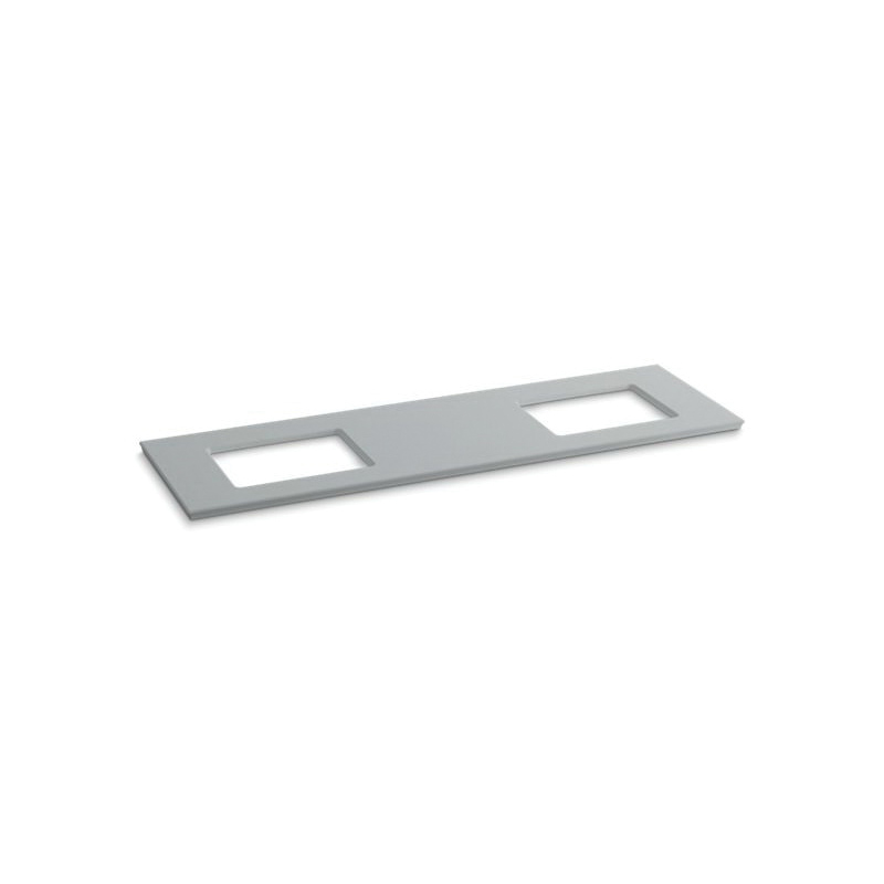 Kohler® 5462-S36 Solid/Expressions™ Vanity Top With Double Verticyl® Rectangular Cutout, 22-13/16 in OAWx22-13/16 in OADx1-1/4 in OAH, Stone Ice Gray Top