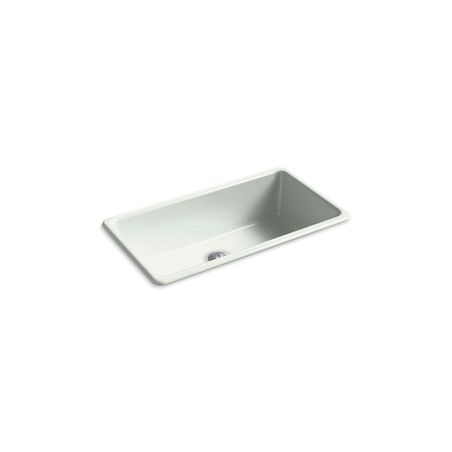 Kohler® 5707-FF Iron/Tones® Kitchen Sink Without Faucet Holes, Rectangular, 33 in Wx18-3/4 in Dx9-5/8 in H, Top/Under Mount, Enameled Cast Iron, Sea Salt™, Domestic
