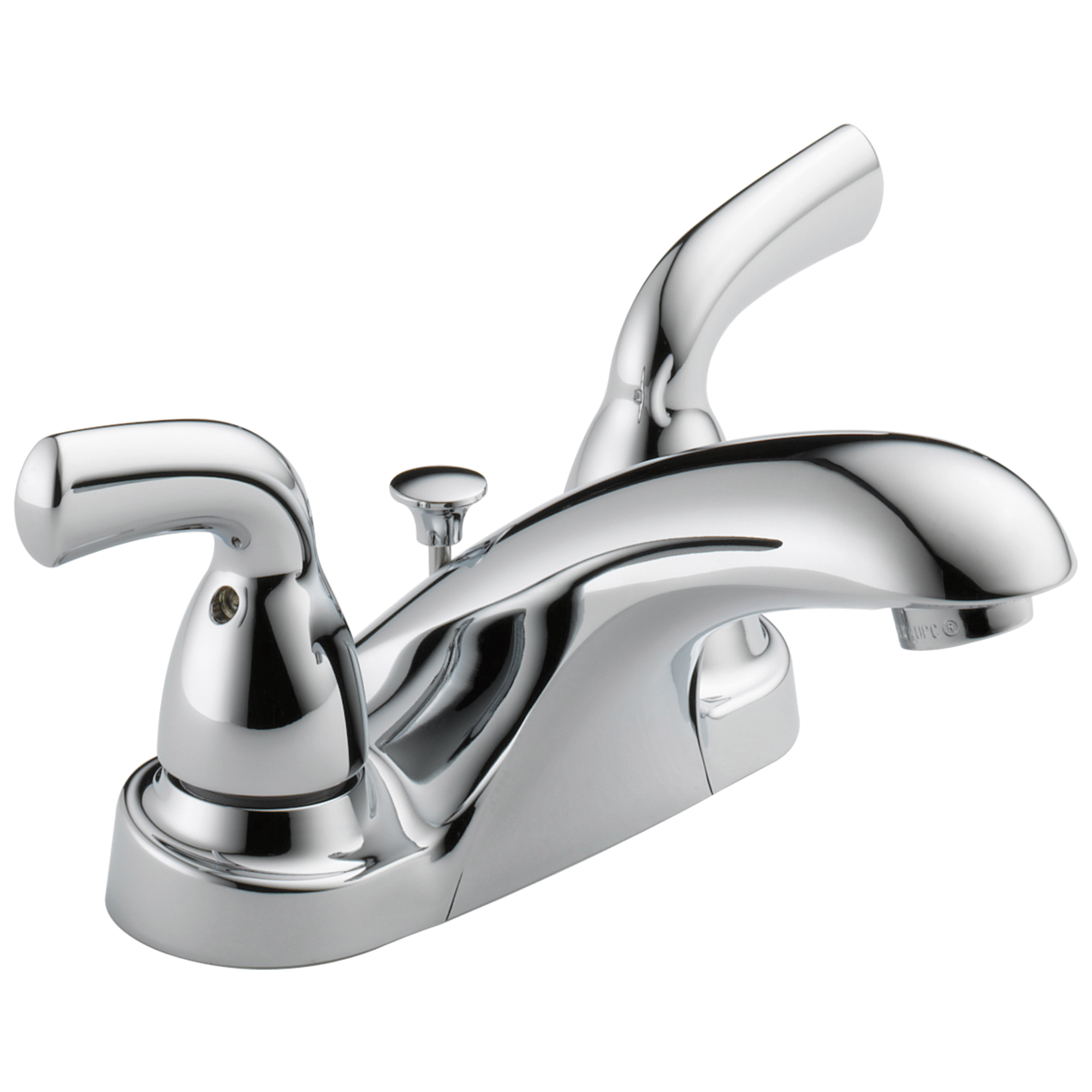 DELTA® B2510LF-PPU Centerset Lavatory Faucet, Foundations®, Chrome Plated, 2 Handles, Pop-Up Drain, 1.2 gpm