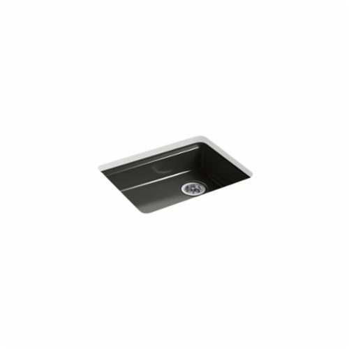 Kohler® 5479-5U-FP Kitchen Sink, Riverby®, Rectangular, 22-1/4 in Lx17-1/4 in Wx5-1/4 in D Bowl, 5 Faucet Holes, 25 in Lx22 in Wx5-7/8 in H, Under Mount, Cast Iron, Caviar