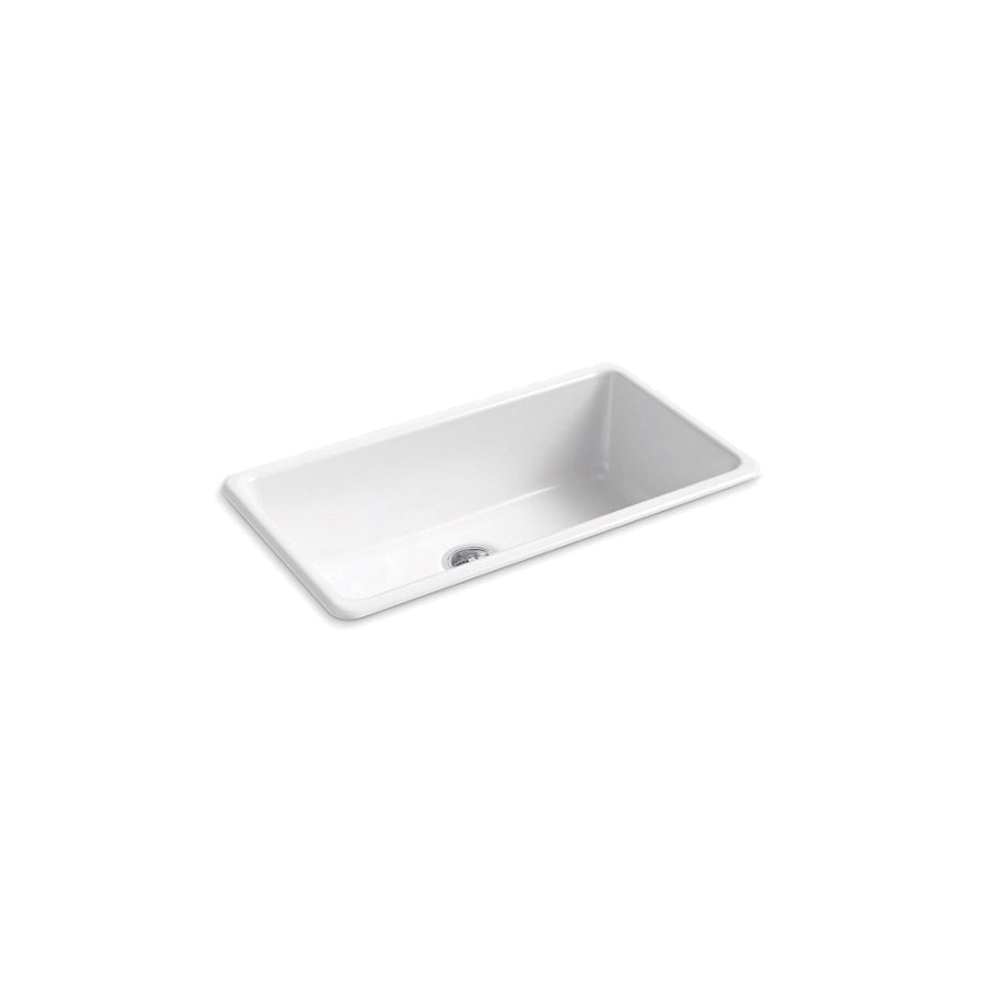 Kohler® 5707-0 Iron/Tones® Kitchen Sink Without Faucet Holes, Rectangular, 33 in Wx18-3/4 in Dx9-5/8 in H, Top/Under Mount, Enameled Cast Iron, White, Domestic