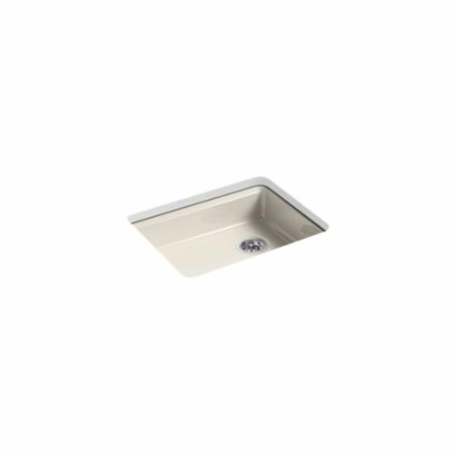 Kohler® 5479-5U-FD Kitchen Sink, Riverby®, Rectangular, 22-1/4 in L x 17-1/4 in W x 5-1/4 in D Bowl, 5 Faucet Holes, 25 in L x 22 in W x 5-7/8 in H, Under Mount, Cast Iron, Cane Sugar™