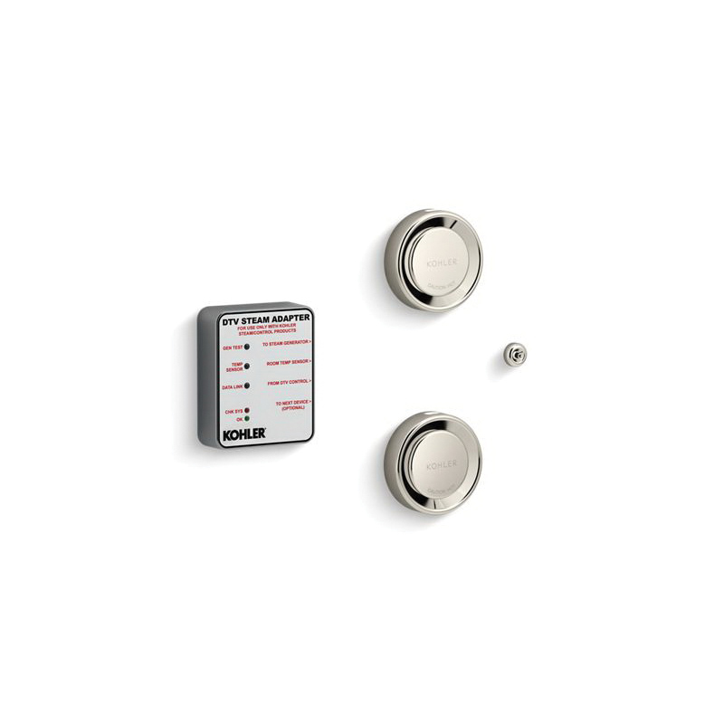 Kohler® 5549-K1-SN Tandem Steam Adapter Kit, DTV+™, 90 to 125 deg F, Vibrant® Polished Nickel, For Use With: Invigoration™ 18 to 30 kW Steam Generator