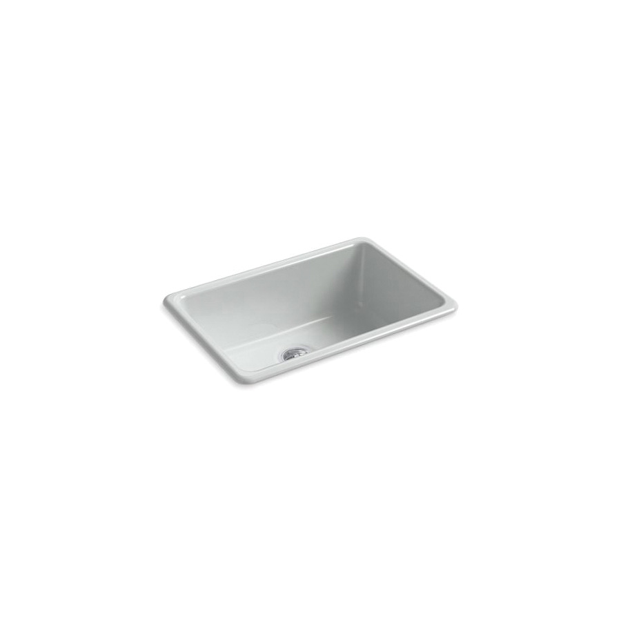 Kohler® 5708-95 Iron/Tones® Kitchen Sink Without Faucet Holes, Rectangular, 27 in Wx18-3/4 in Dx9-5/8 in H, Top/Under Mount, Enameled Cast Iron, Ice™ Grey, Domestic