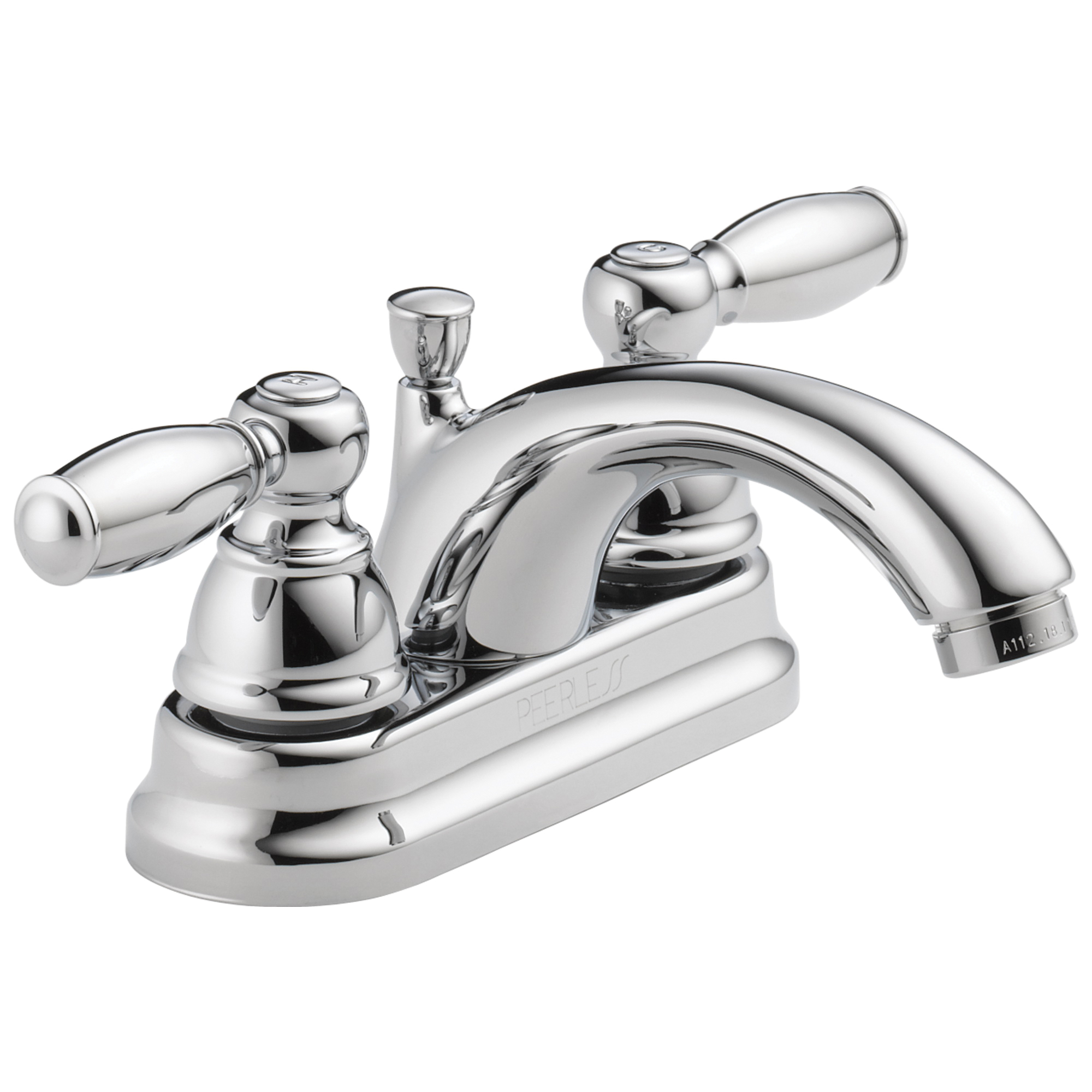 Peerless® P299675LF Centerset Lavatory Faucet, Chrome Plated, 2 Handles, Pop-Up Drain, 1.2 gpm