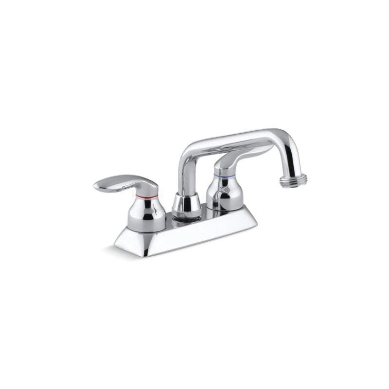 Kohler® 15271-4-CP Centerset Utility Sink Faucet, Coralais®, Polished Chrome, 2 Handles, 2.2 gpm