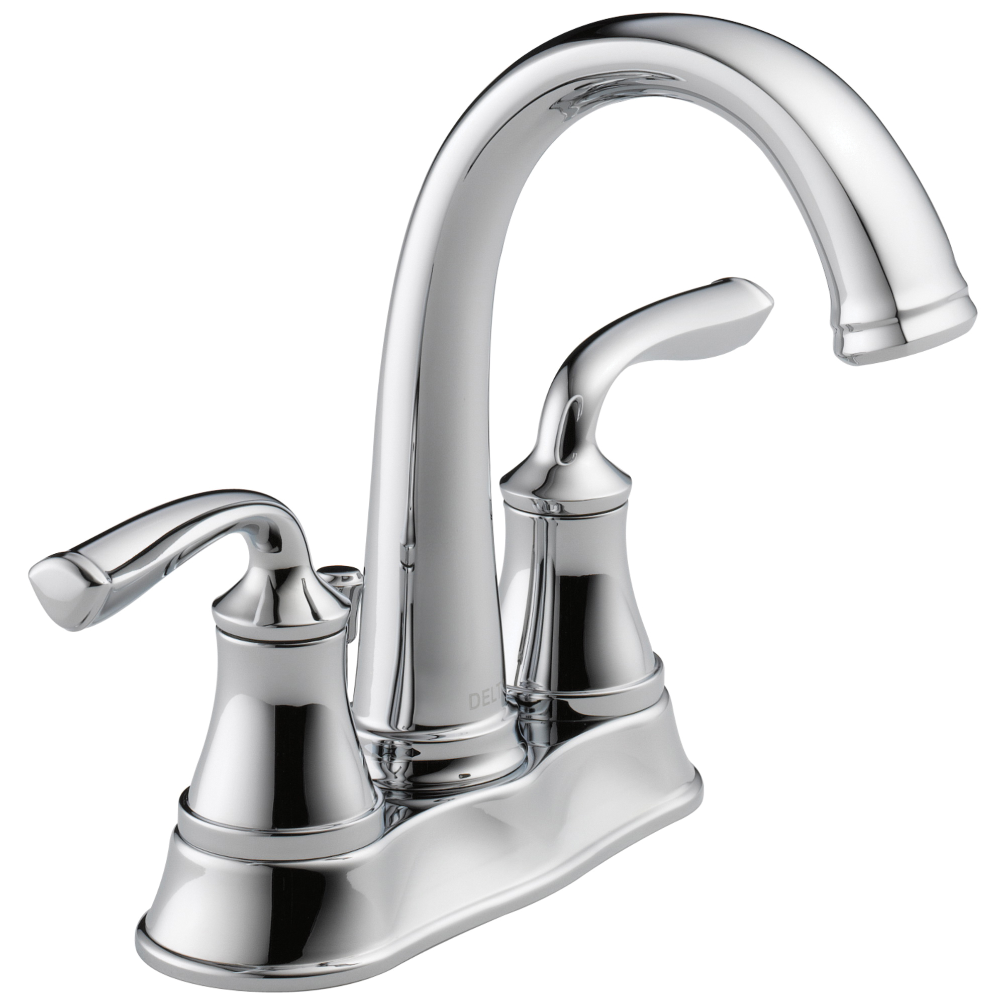 DELTA® 25716LF-ECO Centerset Bathroom Faucet, Lorain®, Chrome Plated, 2 Handles, Plastic Pop-Up Drain, 1.2 gpm