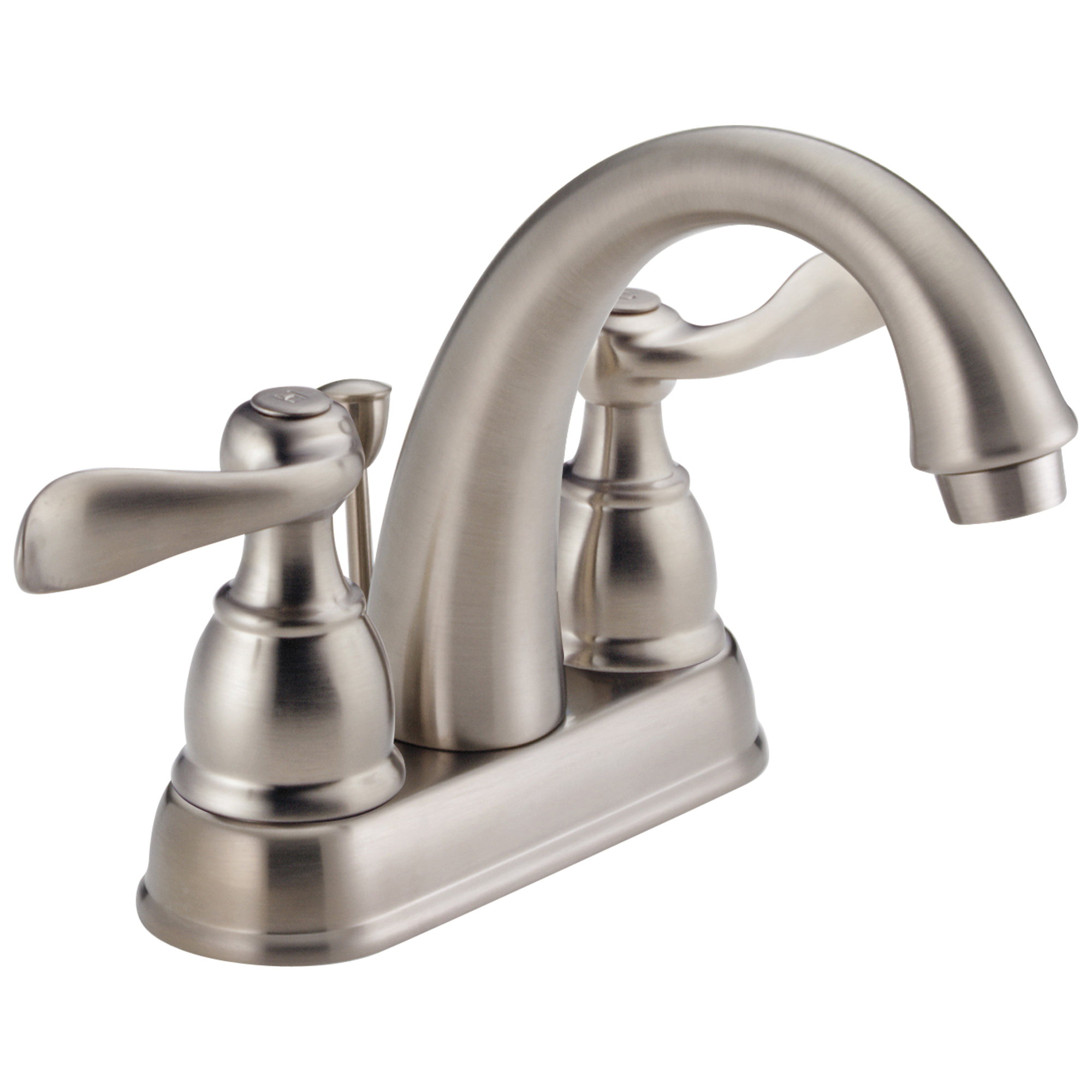 DELTA® B2596LF-SS Centerset Lavatory Faucet, Windemere®, Stainless Steel, 2 Handles, Metal Pop-Up Drain, 1.2 gpm