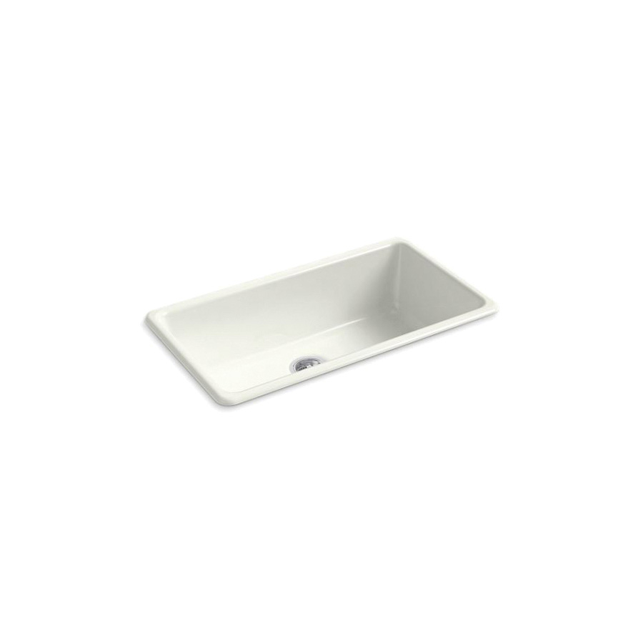 Kohler® 5707-NY Iron/Tones® Kitchen Sink Without Faucet Holes, Rectangular, 33 in Wx18-3/4 in Dx9-5/8 in H, Top/Under Mount, Enameled Cast Iron, Dune, Domestic