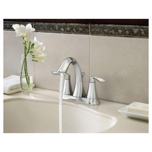 Moen® 6410 Centerset Bathroom Faucet, Eva®, Chrome Plated, 2 Handles, Metal Pop-Up Drain, 1.5 gpm