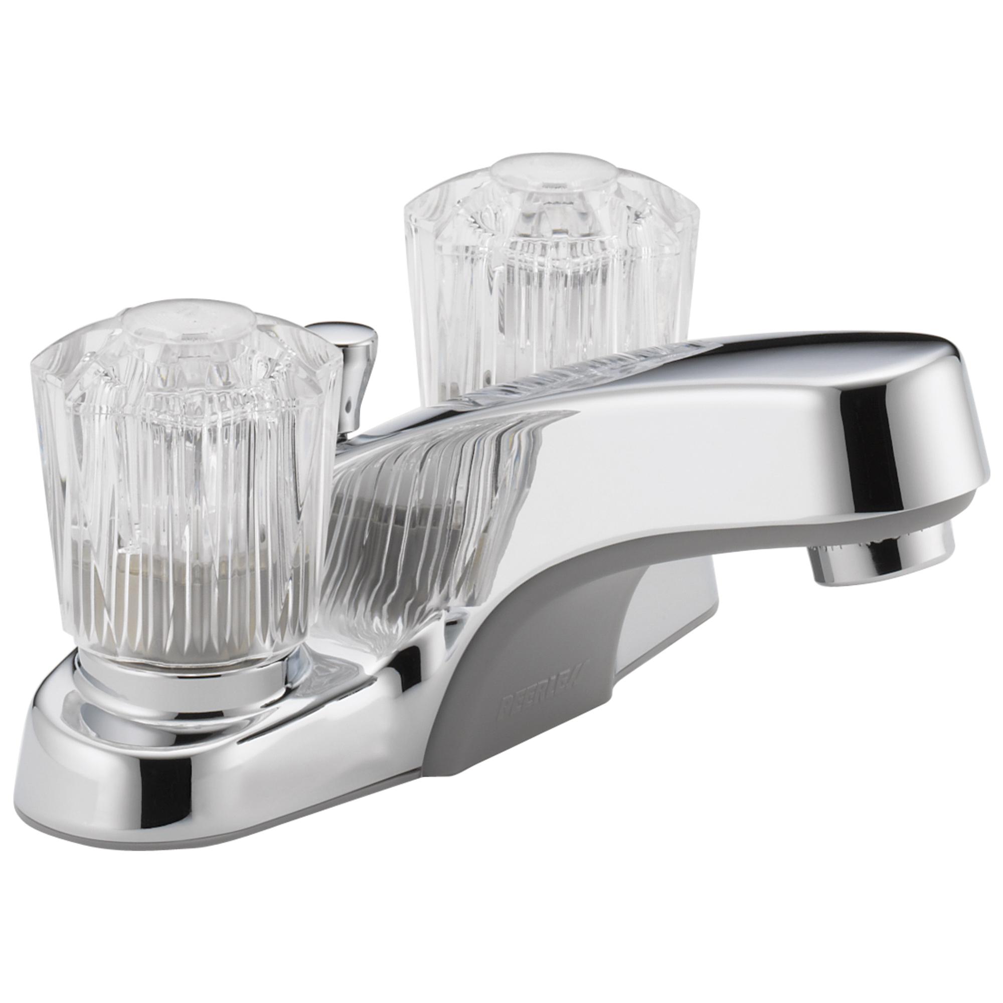 Peerless® P245LF Centerset Lavatory Faucet, Apex, Chrome Plated, 2 Handles, Plastic Pop-Up Drain, 1.2 gpm