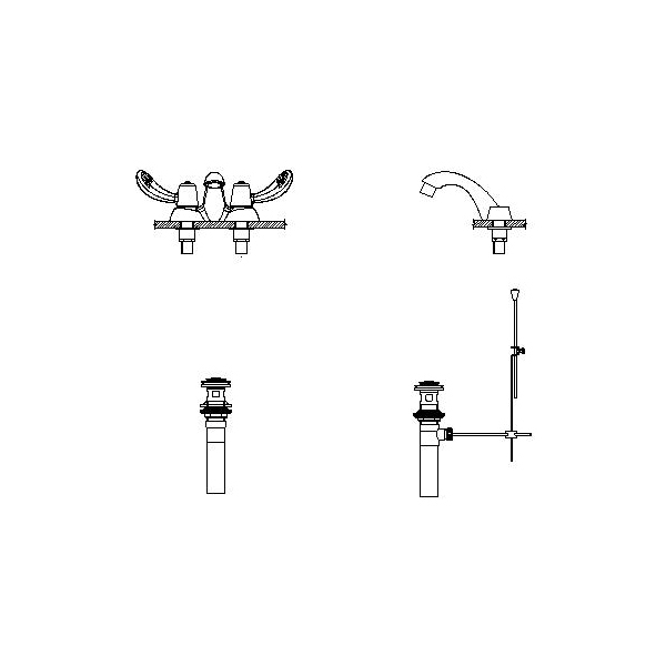 DELTA® 21C252-TI Heavy Duty Centerset Sink Faucet, TECK®, Polished Chrome, 2 Handles, Metal Pop-Up Drain, 0.5 gpm