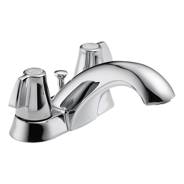 DELTA® 2520LF-TPM Centerset Lavatory Faucet, Tract-Pack™, Chrome Plated, 2 Handles, Polypropylene Pop-Up Drain, 1.2 gpm