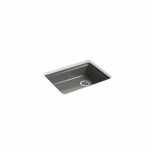 Kohler® 5479-5U-58 Kitchen Sink, Riverby®, Rectangular, 22-1/4 in Lx17-1/4 in Wx5-1/4 in D Bowl, 5 Faucet Holes, 25 in Lx22 in Wx5-7/8 in H, Under Mount, Cast Iron, Thunder™ Gray