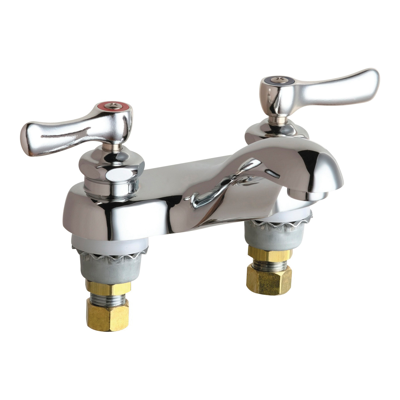 Chicago Faucet® 802-ABCP Lavatory Sink Faucet, Chrome Plated, 2 Handles, 2.2 gpm