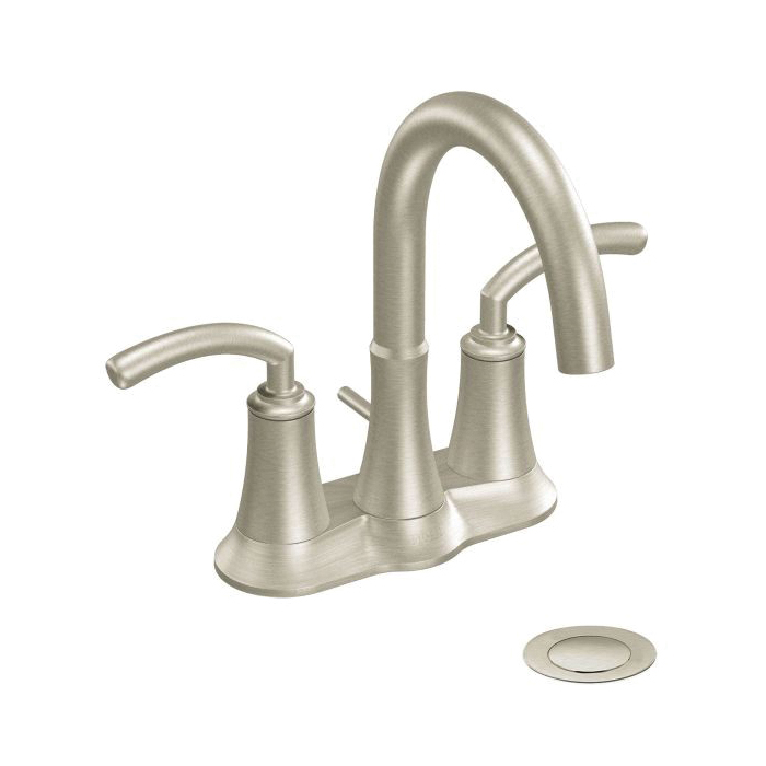 Moen® S6510BN Centerset Bathroom Faucet, Icon™, Brushed Nickel, 2 Handles, Metal Pop-Up Drain, 1.5 gpm