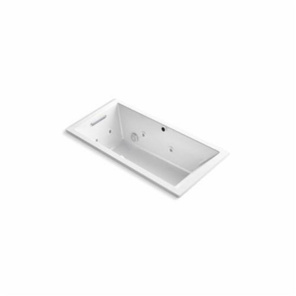 Kohler® 1167-XH2G-0 Underscore® Bathtub, BubbleMassage™ / Whirlpool, Rectangular, 60 in L x 30 in W, End Drain, White
