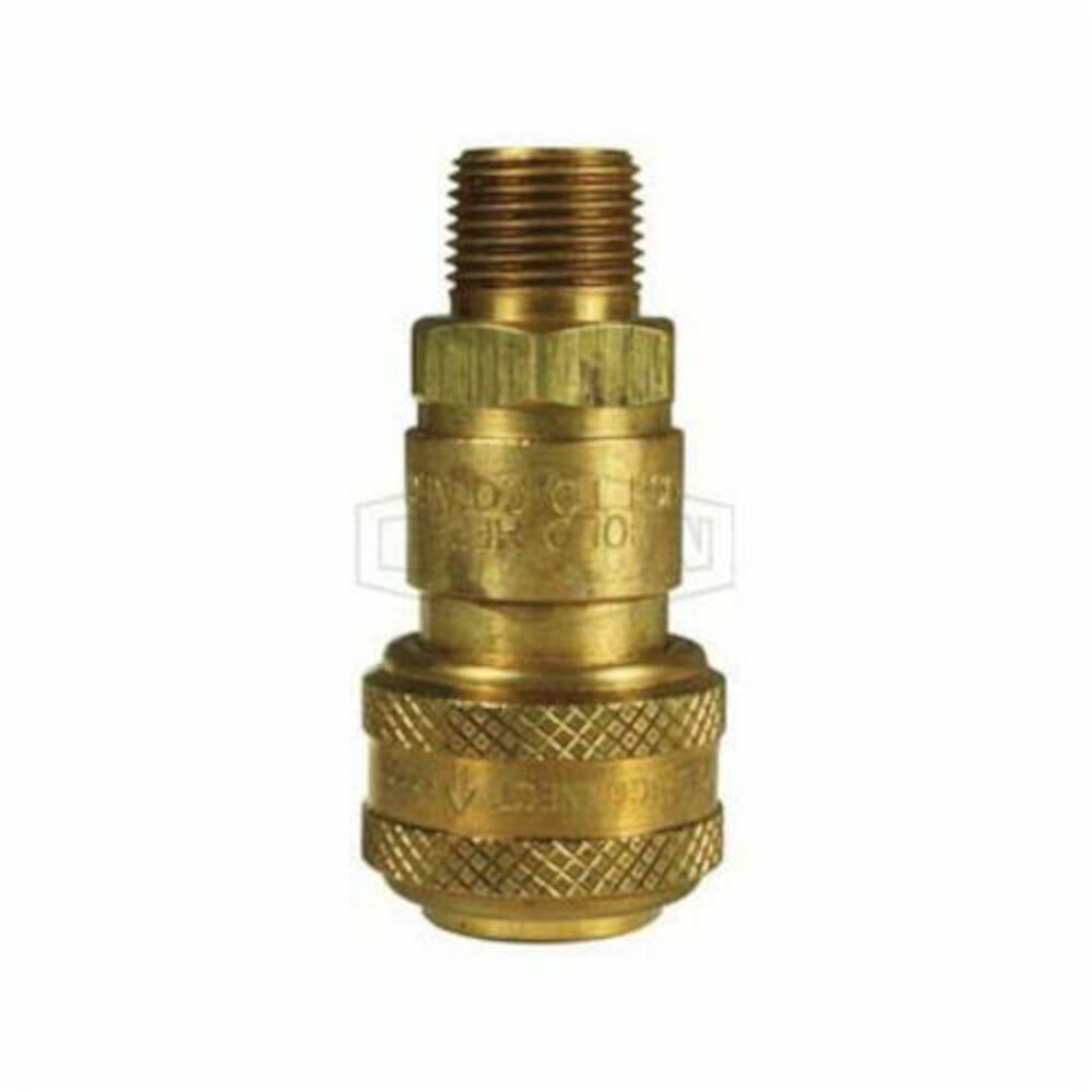 Dixon® 2DM2-B DF Series Industrial Male Quick Connect Coupler, 1/4-18, Quick Disconnect CouplerxNPTF, Brass, Domestic