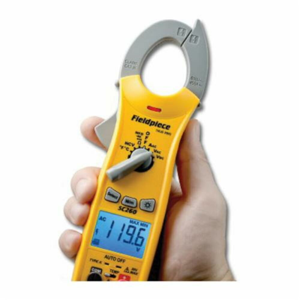 Fieldpiece SC260 Compact Clamp Meter, 400 A, 40 mOhm, 50 to 500 Hz, LED Display