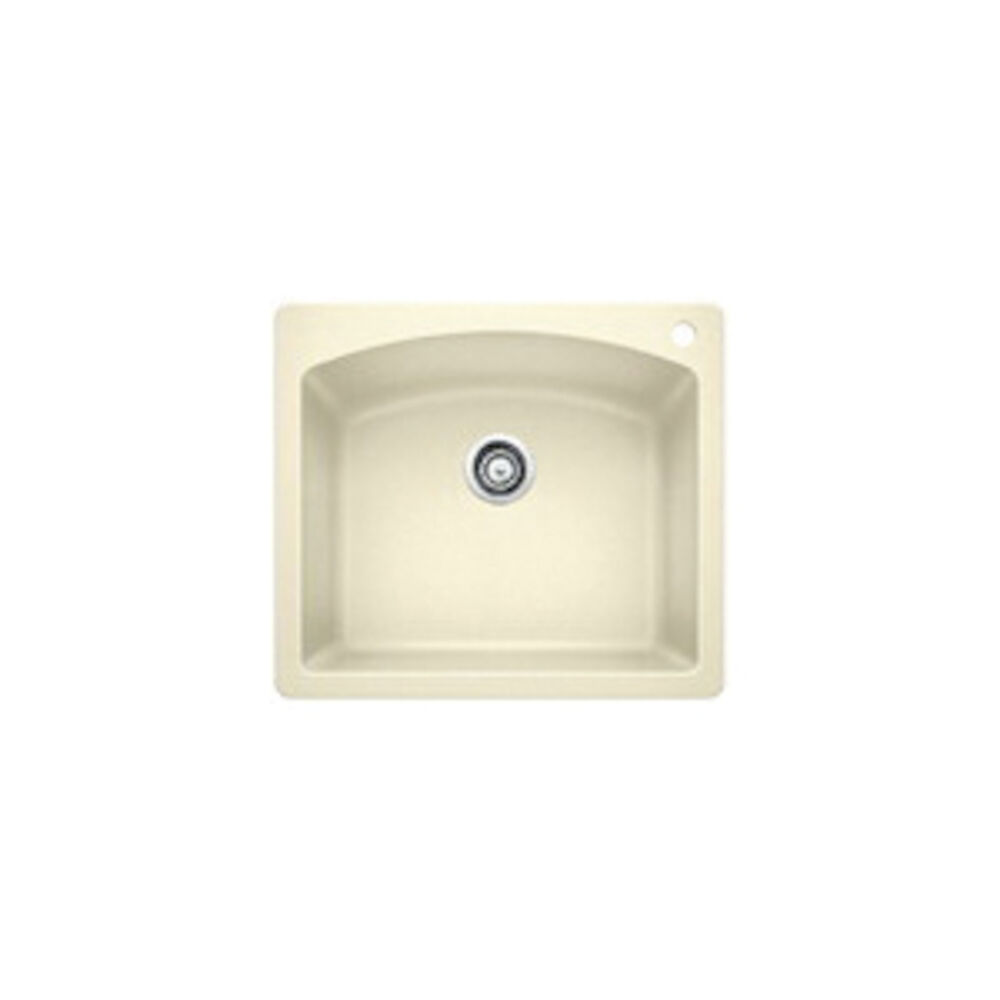 Blanco 440212 DIAMOND™ SILGRANIT® Dual Mount Kitchen Sink, D-Shape, 1 Faucet Hole, 25 in Wx22 in H, Drop-In/Under Mount, Granite, Biscuit, Import