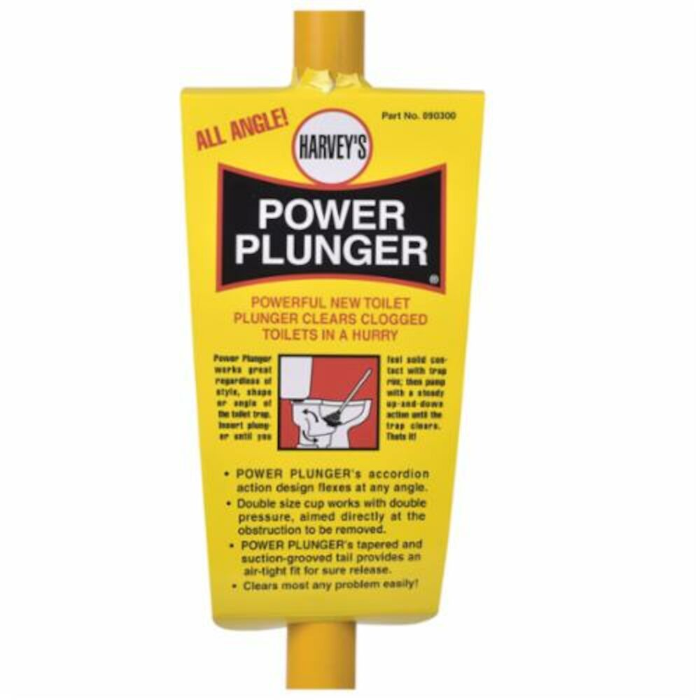 Harvey® 090300 Power Plunger With Yellow Handle, Black