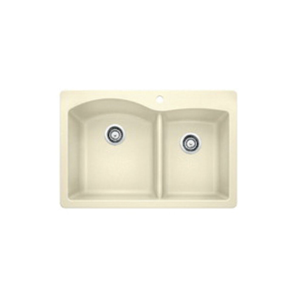 Blanco 440217 DIAMOND™ SILGRANIT® 1-3/4 Bowl Dual Mount Kitchen Sink, D-Shape, 1 Faucet Hole, 33 in Wx22 in H, Drop-In/Under Mount, Granite, Biscuit, Import
