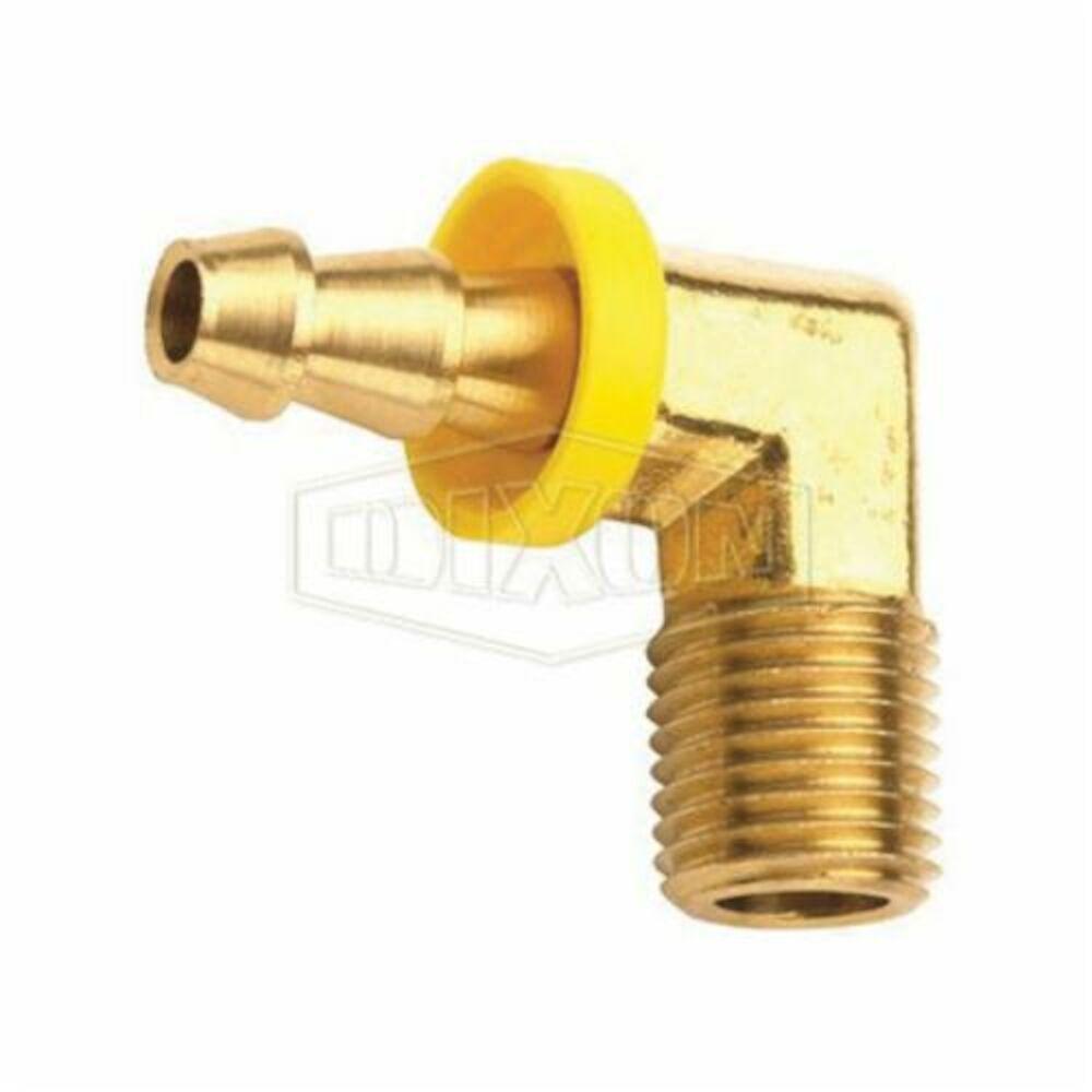 Dixon® 2730606C 90 deg Push-On Elbow Hose Barb, 3/8-18x3/8 in, MNPTxHose Barb, Brass, Domestic