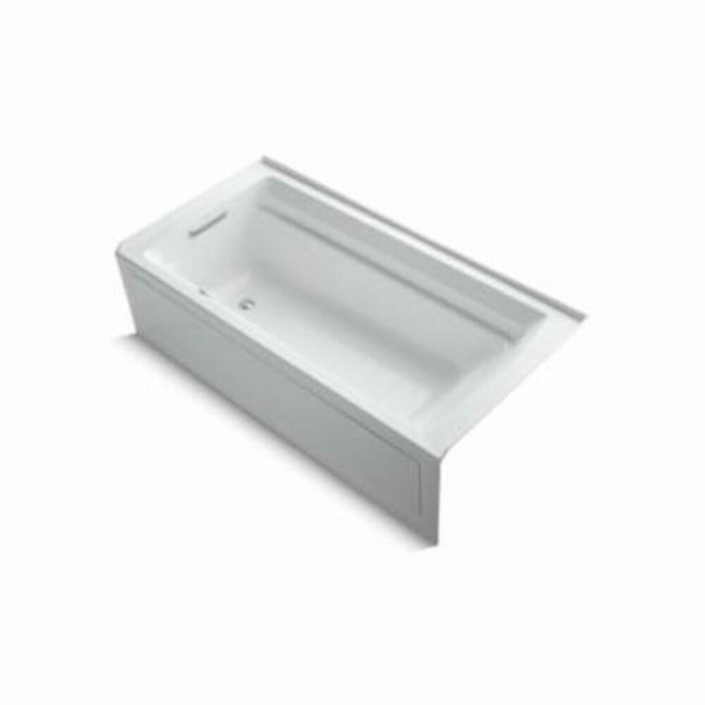 Kohler® 1124-GLA-0 Archer® Bathtub, BubbleMassage™, Rectangular, 72 in L x 36 in W, Left Hand Drain, White