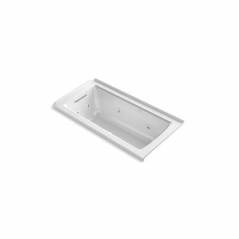 Kohler® 1947-XHGL-0 Archer® Bathtub With Integral Flange, BubbleMassage™ / Whirlpool, Rectangular, 60 in L x 30 in W, Left Hand Drain, White