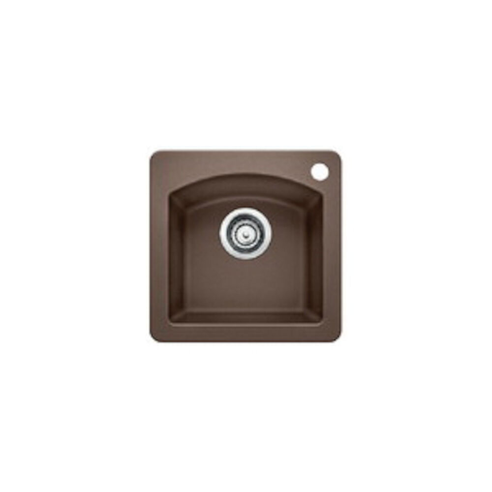Blanco 440202 DIAMOND™ SILGRANIT® Dual Mount Composite Bar Sink, D-Shape, 1 Faucet Hole, 15 in Wx15 in H, Drop-In/Under Mount, Granite, Cafe Brown, Import