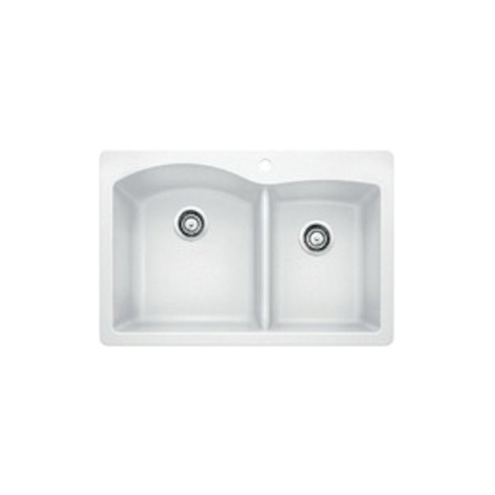 Blanco 440216 DIAMOND™ SILGRANIT® 1-3/4 Bowl Dual Mount Kitchen Sink, D-Shape, 1 Faucet Hole, 33 in Wx22 in H, Drop-In/Under Mount, Granite, White, Import