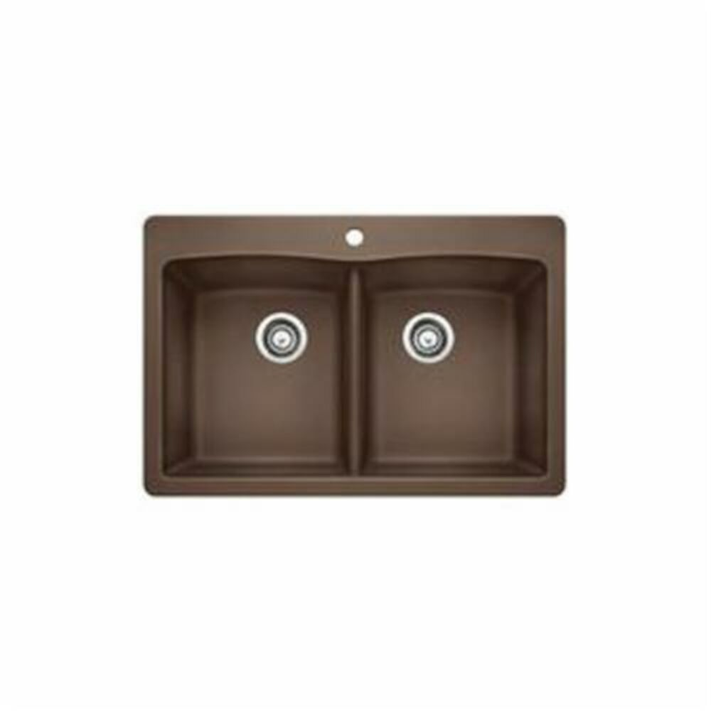 Blanco 440218 DIAMOND™ SILGRANIT® II Kitchen Sink With Ledge, Rectangular, 1 Faucet Hole, 33 in Wx22 in D, Drop-In Mount, Granite, Cafe Brown, Domestic