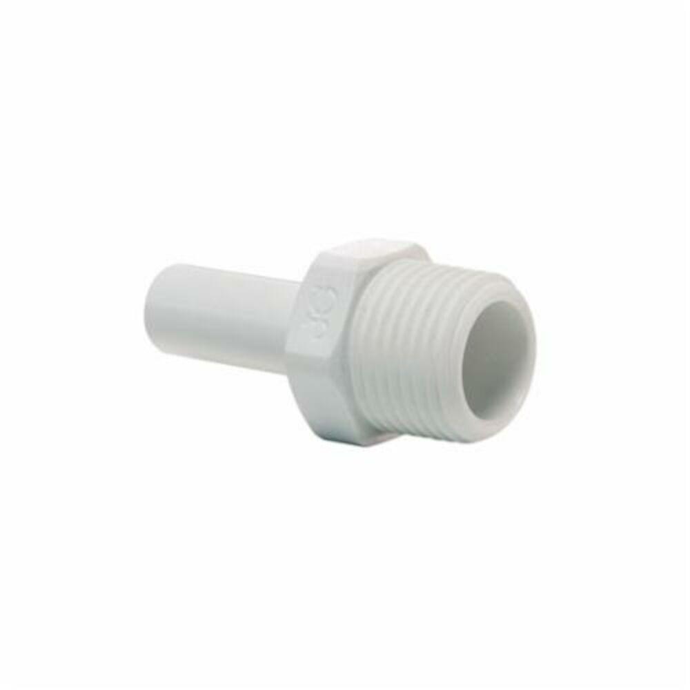 John Guest® Speedfit® PP051623W Stem Adapter, 1/2x3/8 in, Push-Fit Stem ODxNPTF, Polypropylene, Domestic