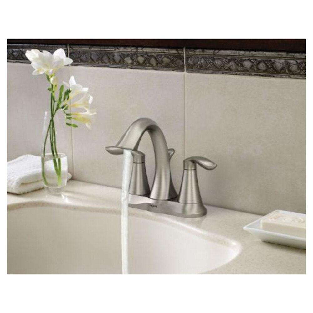 Moen® 6410BN Centerset Bathroom Faucet, Eva®, Brushed Nickel, 2 Handles, Metal Pop-Up Drain, 1.5 gpm