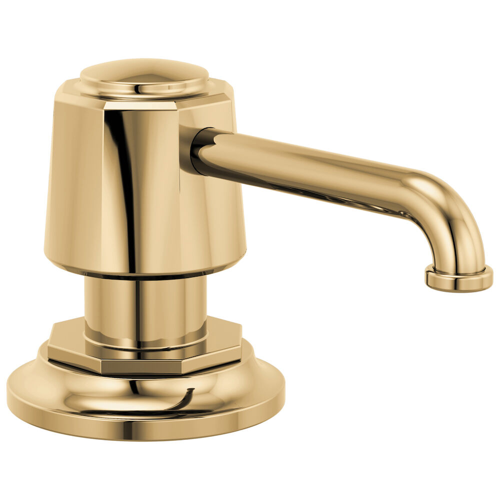 Brizo® RP100487PG Rook™ Soap/Lotion Dispenser, Polished Gold, 15 oz Capacity, 2.63 in OAL, Import