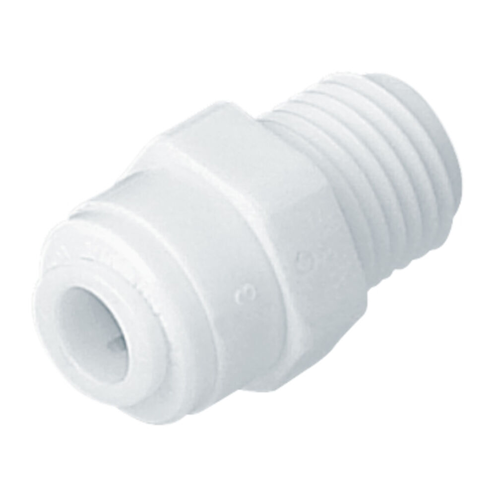 AMC-0707W Male Connector, 1/2 in, NPTF,  PUSHXMIP, White