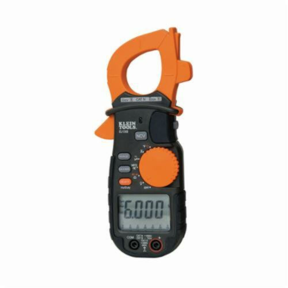 Klein® CL1300 Auto-Ranging AC Clamp Meter, 600 A, 750 VAC/1000 VDC, 60 mOhm, 499.9 kHz, LCD Display