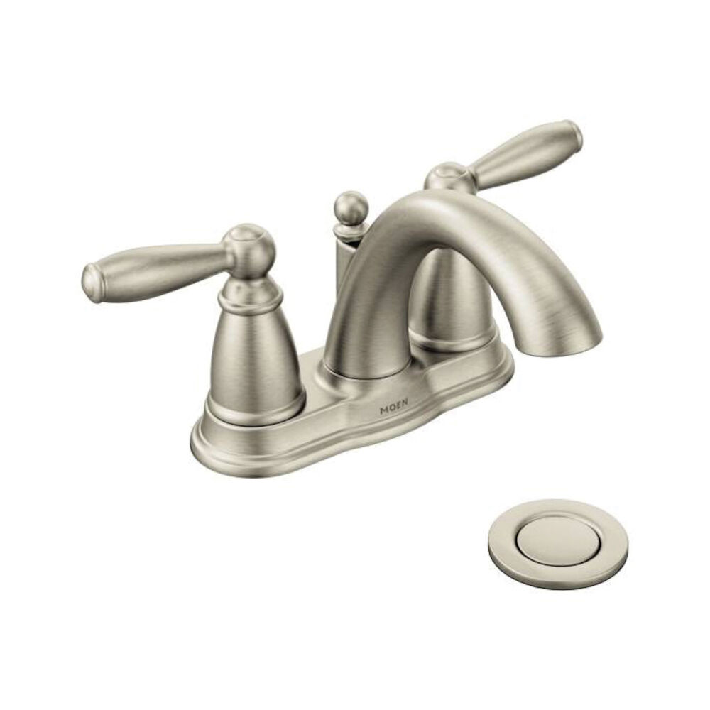 Moen® 6610BN Centerset Bathroom Faucet, Brantford™, Brushed Nickel, 2 Handles, Metal Pop-Up Drain, 1.5 gpm