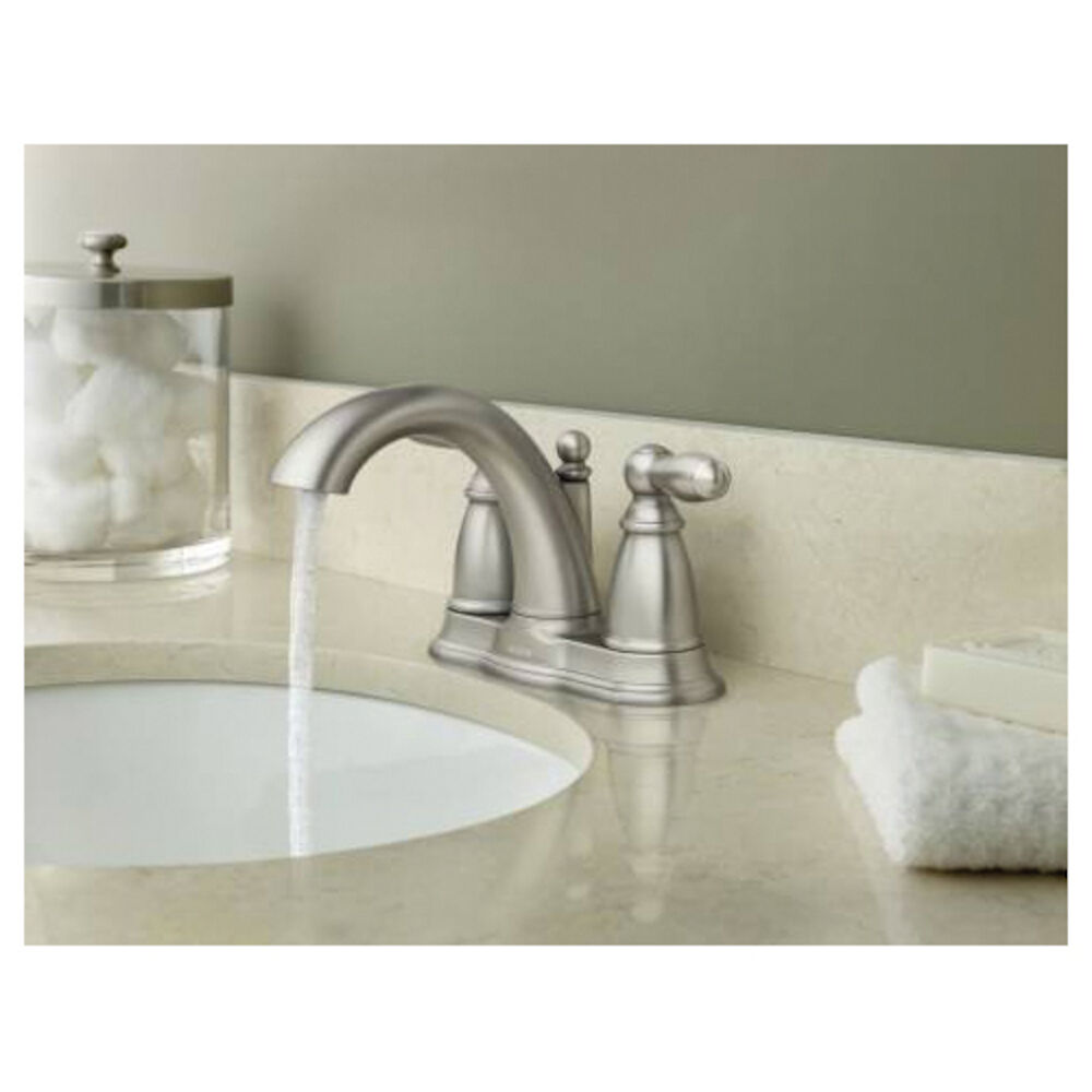 Moen® 6610BN Centerset Bathroom Faucet, Brantford™, Brushed Nickel, 2 Handles, Metal Pop-Up Drain, 1.5 gpm