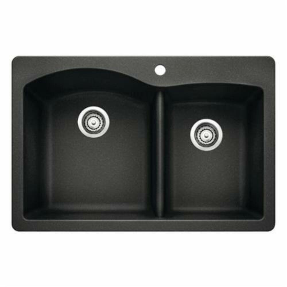 Blanco 440215 DIAMOND™ SILGRANIT® II Kitchen Sink, Rectangular, 1 Faucet Hole, 33 in Wx22 in D, Drop-In Mount, Granite, Anthracite, Import