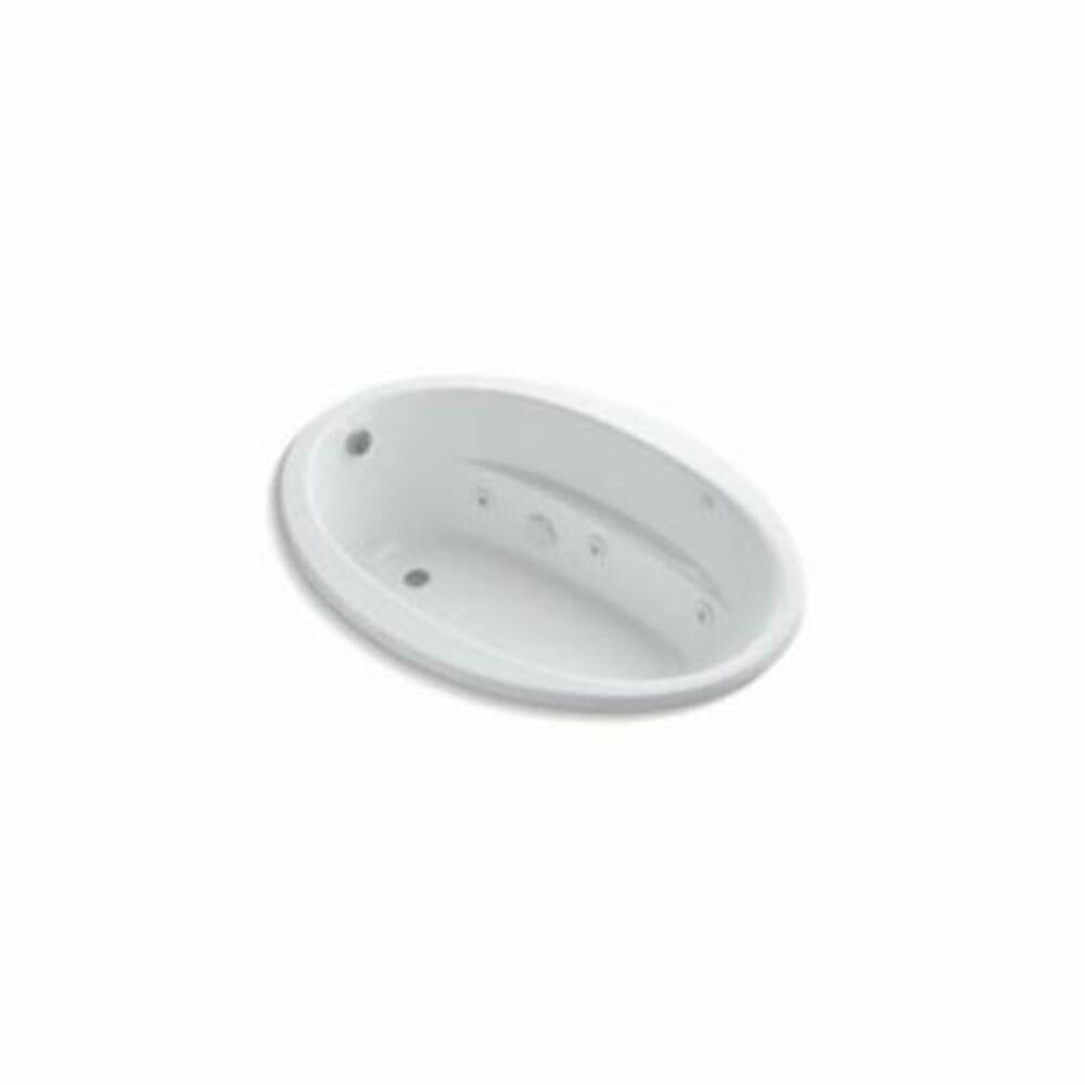 Kohler® 1162-0 Sunward® Bathtub With Reversible Drain, Whirlpool, Oval, 60 in L x 42 in W, End Drain, White