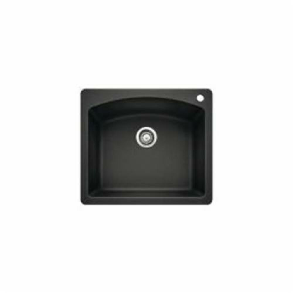 Blanco 440210 DIAMOND™ SILGRANIT® II Kitchen Sink, Square, 1 Faucet Hole, 25 in Wx22 in D, Drop-In Mount, Granite, Anthracite, Import