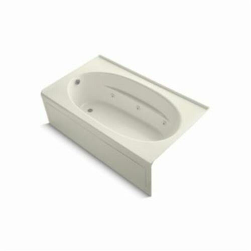 Kohler® 1114-LA-96 Windward® Bathtub, Whirlpool, Rectangular, 72 in L x 42 in W, Left Hand Drain, Biscuit