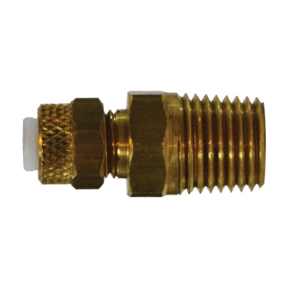 MMM Tube Connector, Poly-Flo® Flareless x Male NPTF, CA360 Brass